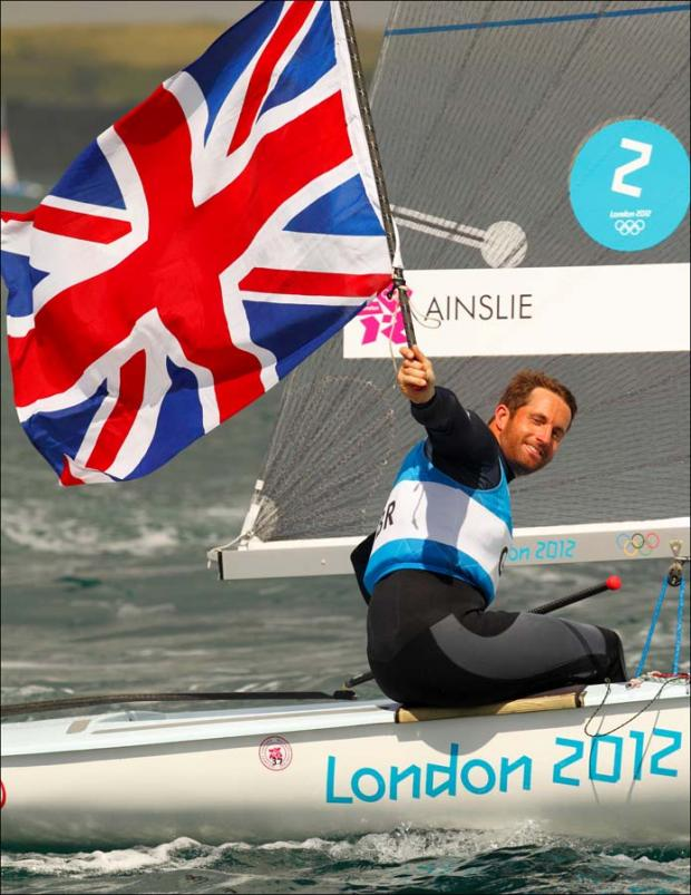 Ben Ainslie celebrates his fourth Olympic gold medal at London 2012