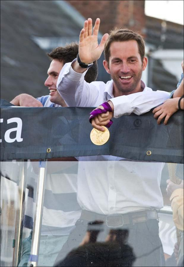 Ben Ainslie arriving in Lymington tonight. Picture by Mark Lloyd.