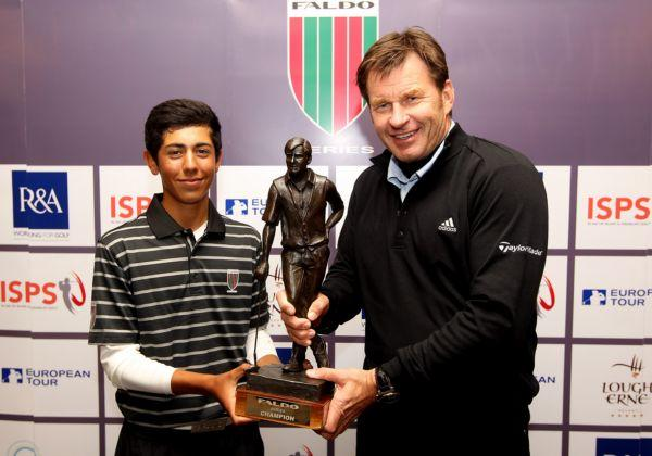 Jack Singh-Brar receives his trophy from Sir Nick Faldo
