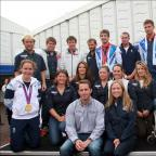Ben Ainslie with fellow Olympians and boat show sponsor Jo Dixie of PSP.
