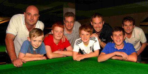 SEMI-FINALISTS: Left to right: Steve Wilson and son Jamie, Ian Clark and son Olly, Jim Everett and son Alex, Martin Trigg and son Mike.