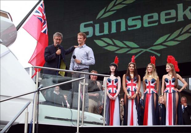 Jenson Button and Eddie Jordan aboard a Sunseeker yacht.