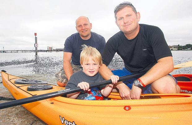 Jon Turner, left, with Stuart Littler and his son Ben