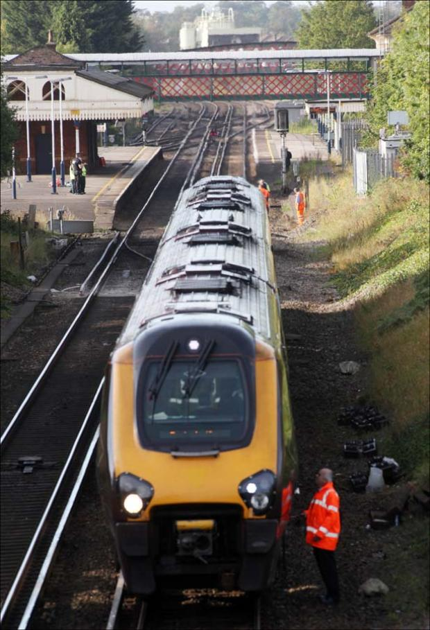 The scene at St. Denys railway station yesterday.