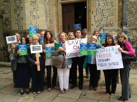 Campaigners outside Hampshire County Council offices in Winchester