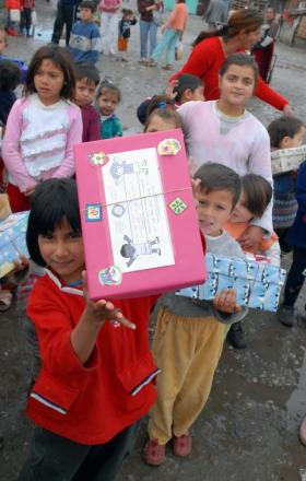 Shoeboxes were given out in a kindergarten at a gypsy camp in Montenegro after a previous gift appeal