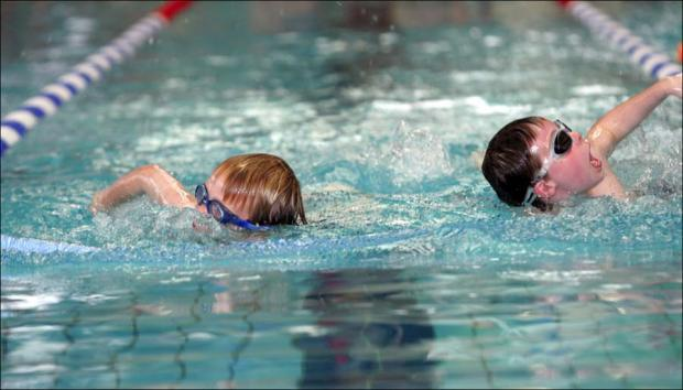 Children swimming at River Park Leisure Centre.