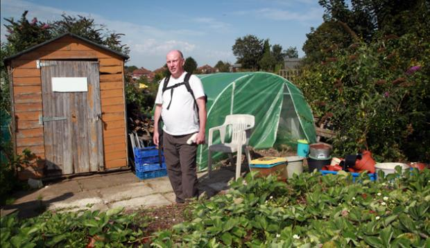 Barry Compton on the allotment in Southampton