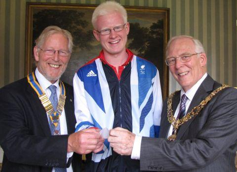 (L-r) Rotary president Simon Theobalds, Team GB Goalball player Adam Knott and Mayor Frank Pearson