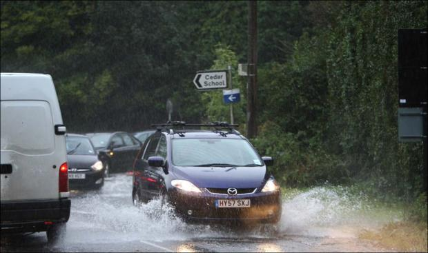 Roads flooding in Lordshill this morning.