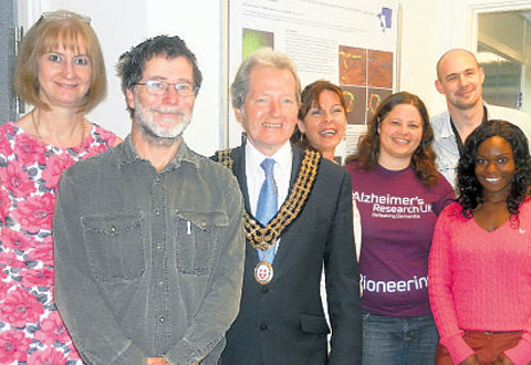 The dementia team, from left, Maureen Gatherer, Anton Page, Roxana Carare, Cheryl Hawkes, Lydia Baffour and Matthew Sharpe with former Southampton mayor Terry Matthews.