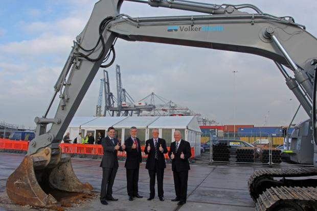Work starts on £150m upgrade of container port. ) Rob Coupe, MD Volker Stevin, Peter Jones, CEO ABP Holdings, Chris Lewis, MD, DP World Southampton, Doug Morrison, Port Director, ABP Port of Southampton.