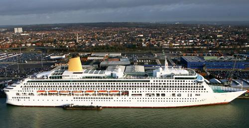 Aurora docked in Southampton