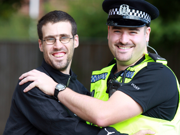 Philip Simpson, of Eastleigh, thanks PC David Hollands for saving his life