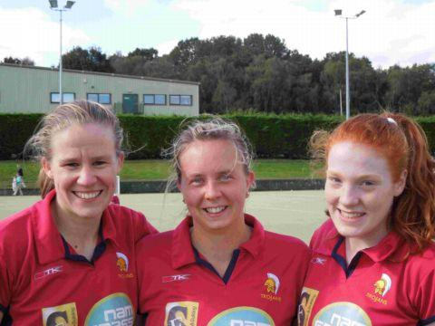 Trojans goalscorers (from left) Becky Westall, Nyssa Cole and Izzy Wood.