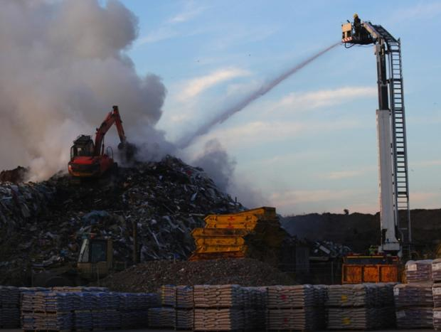 Fire crews tackle previous blaze at the dump