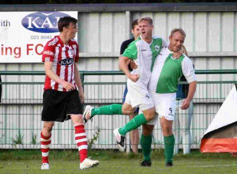 Kevin Gibbens after scoring against his former Sholing teammates