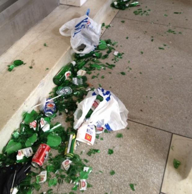 Daily Echo: Smashed bottles found in the toilets at Green Park.