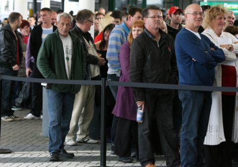 Queues form at last year's popular jobs fair.