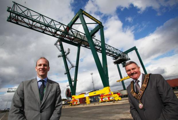 Freightliner managing director Adam Cunliffe with Mayor of Southampton Cllr Derek Burke.
