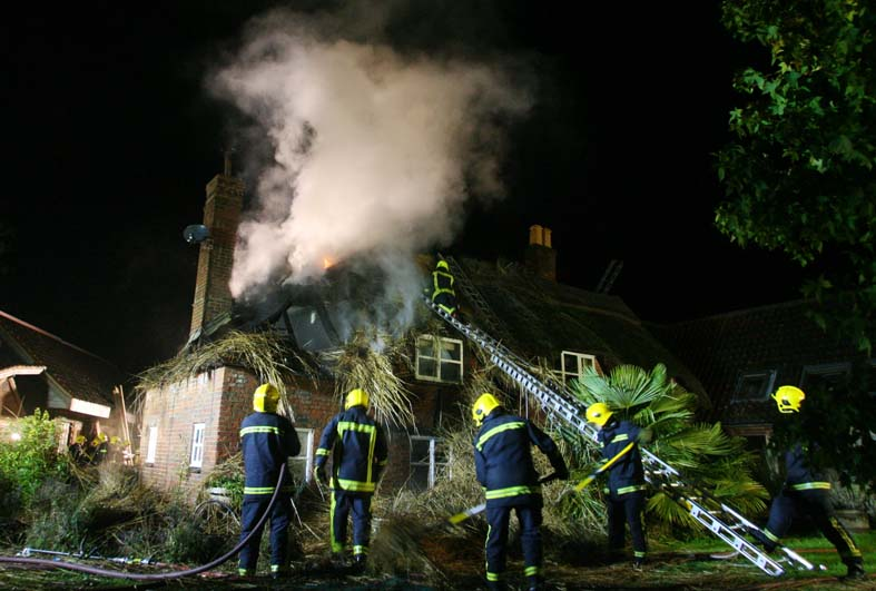 Fire crews tackled thatched cottage blaze