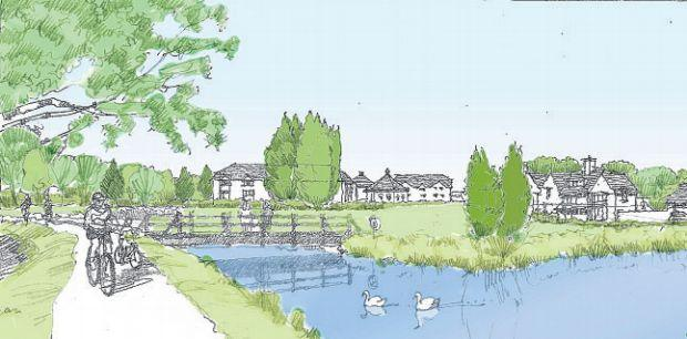 Artist's impression of a housing estate at Boorley Green