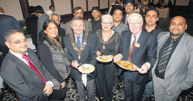Southampton mayor Derek Burke, third left, and Masterchef winner Shelina Permalloo, second left, were among the guests at the cook-off
