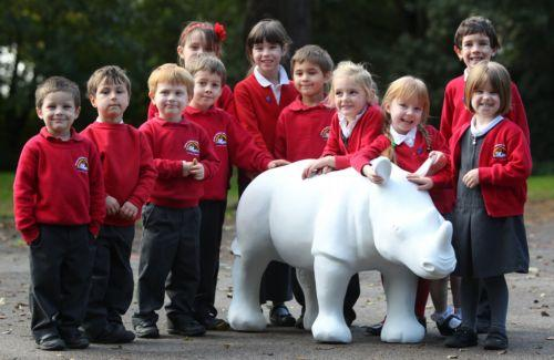 Bishop's Waltham Infant School pupils welcome their rhino