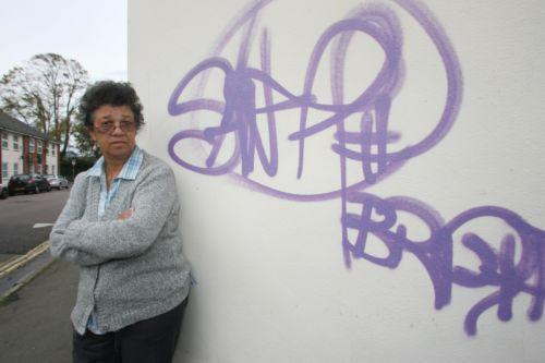 Black Heritage chairman Beverley Dowdell with one of the graffiti tags