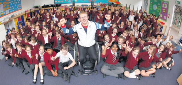 Aaron Phipps meets pupils at Springhill School in Southampton