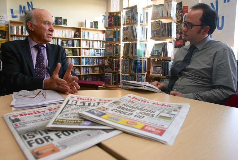 Vince Cable is questioned by the Daily Echo's Patrick Knox