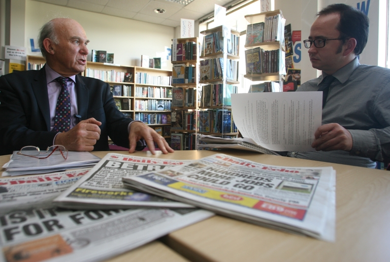 Vince Cable is questioned by the Echo's Patrick Knox
