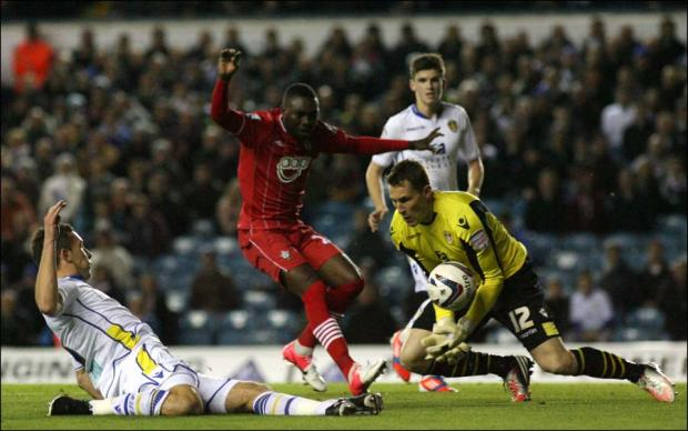 Mayuka bears down on Leeds keeper Ashdown.
