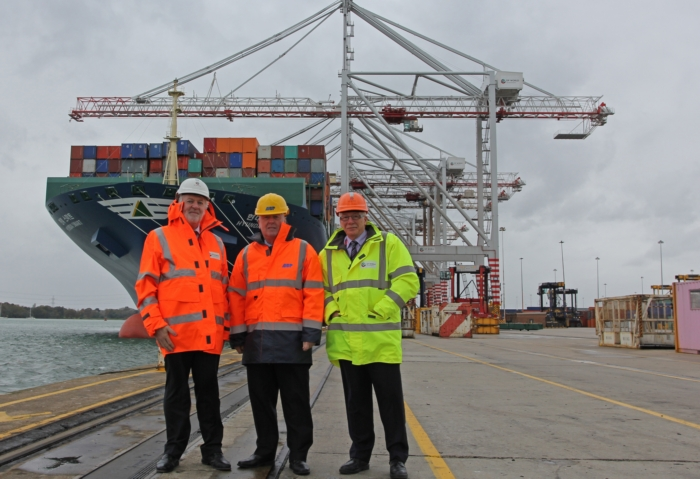 CRANE CONTRACT: Pat O'Leary, managing director of Liebherr Container Cranes, Doug Morrison, ABP port director Southampton, and Chris Lewis, managing director, DP World Southampton.
