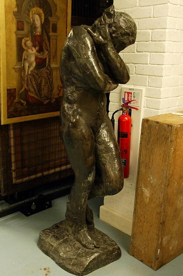 The Auguste Rodin scupture in Southampt on Art Gallery's storage area.