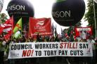Unions protest at council cuts last year