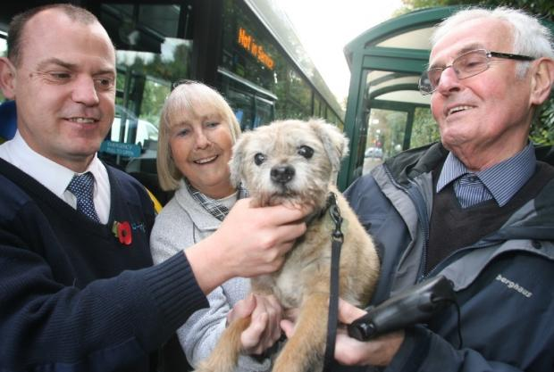 William, with bus driver Jamie and owners Beryl and Colin Pritchard