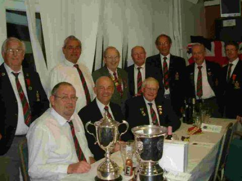 Hedge End bowlers with their Combination trophies during the S&D presentations at Pirrie Park