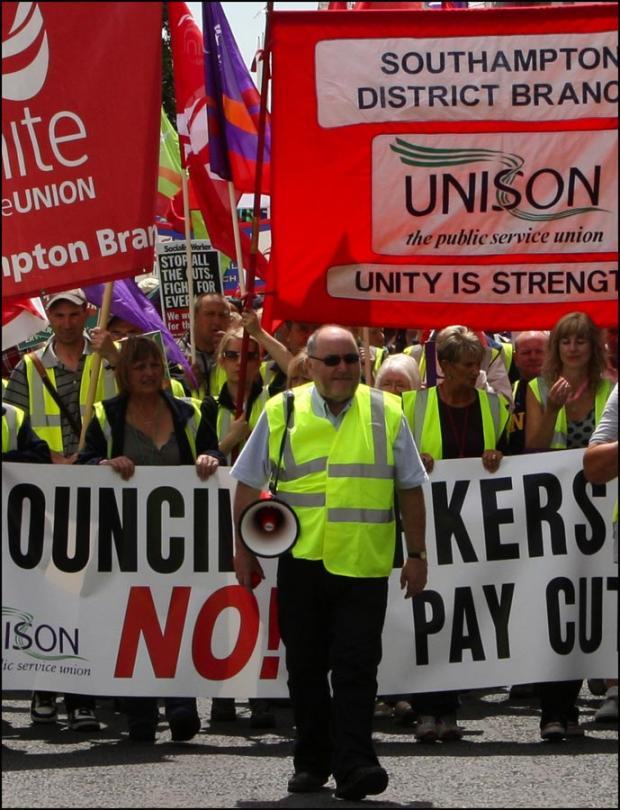Unison branch secretary Mike Tucker during a protest march last year.