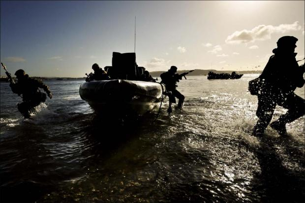 Royal Marines on excercise.