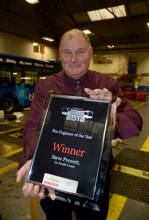 Steve Prewett at the Bluestar Eastleigh depot with his Bus Engineer of the Year award