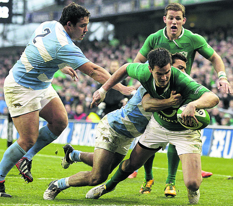 Johnny Sexton scores for Ireland against Argentina. Both sides are in today's draw.