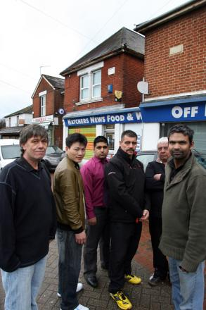 FURIOUS: Businessmen Martin Smith, Weng Hua, Nuellur Rahman, Shane Pletts, Kamal Patel and Hussain Abdul are among those affected by the fiasco.