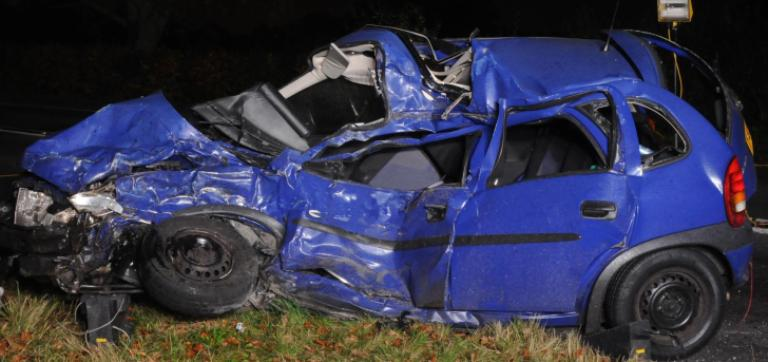 The wreckage of the car involved in the drink-driving crash