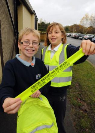 Harry Wall, 10, and Emily Harris, 10, both from Hook Junior School