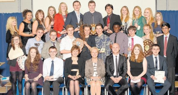 The former Mountbatten School students with guest of honour Steve Bennett, head teacher Heather McIlroy and head of year Carol Parfitt.