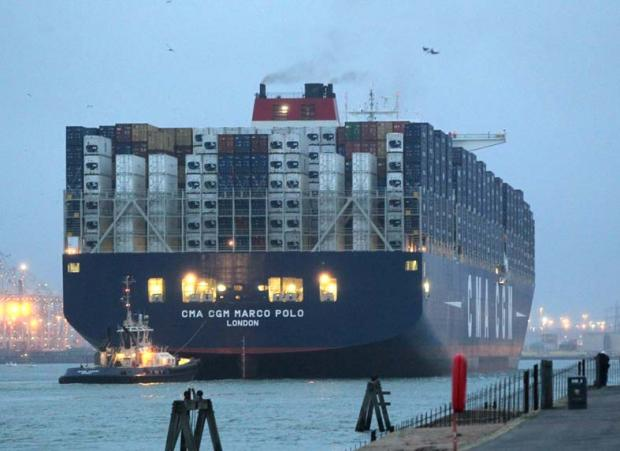 Daily Echo: Marco Polo arriving in Southampton