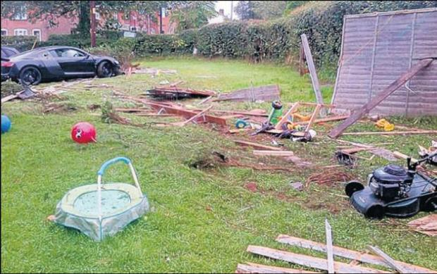 The Audi R8, top left, which crashed into the garden of Paula and Andrew Rigby