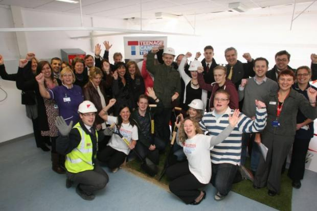 Daily Echo: The turf-cutting ceremony for the new Teenage Cancer Trust unit being built at Southampton General Hospital.