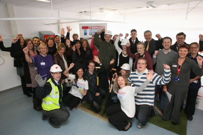 The turf-cutting ceremony for the new Teenage Cancer Trust unit being built at Southampton General Hospital.